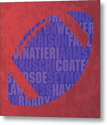 New England Patriots Football Team Typography Famous Player Names On Canvas Metal Print by Design Turnpike
