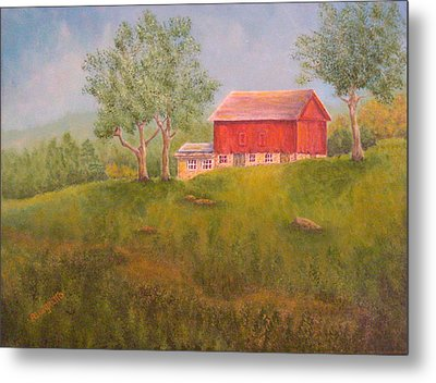 New England Red Barn At Sunrise Metal Print by Pamela Allegretto