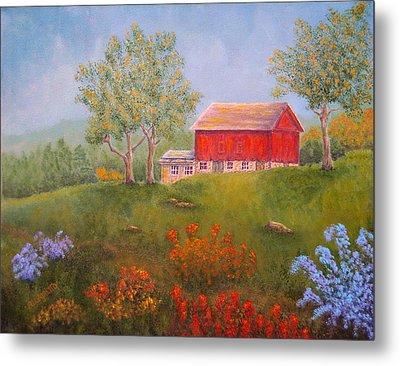 New England Red Barn Summer Metal Print by Pamela Allegretto