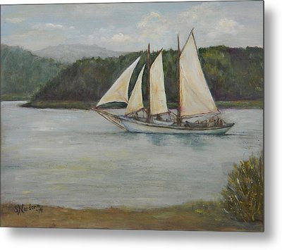 Metal Print featuring the painting New England Schooner by Sandra Nardone