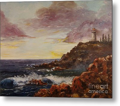 Metal Print featuring the painting New England Storm by Lee Piper