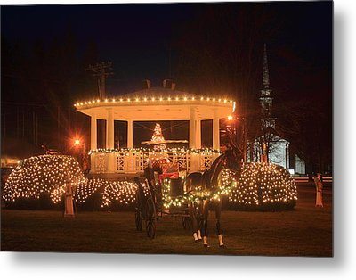 New England Town Common Holiday Scene Metal Print by John Burk
