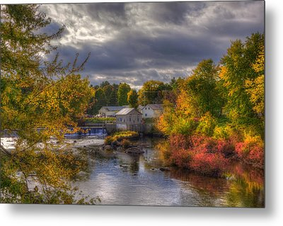 New England Town In Autumn Metal Print