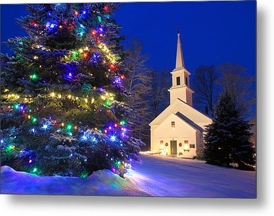 New England Village Christmas Scene Marlow Nh Metal Print