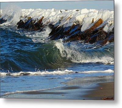 New England Winter Seashore Metal Print by Dianne Cowen