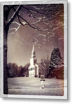 New England Winter Village Scene Metal Print by Thomas Schoeller