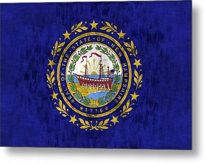 New Hampshire Flag Metal Print by World Art Prints And Designs