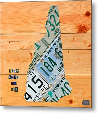 New Hampshire License Plate Map Live Free Or Die Old Man Of The Mountain Metal Print