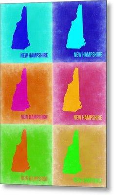 New Hampshire Pop Art Map 2 Metal Print by Naxart Studio
