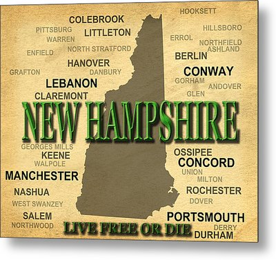 New Hampshire State Pride Map Silhouette  Metal Print by Keith Webber Jr