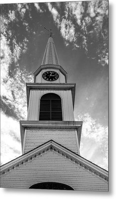 New Hampshire Steeple Detailed View Black And White Metal Print by Karen Stephenson