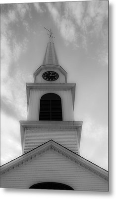 New Hampshire Steeple Dreamy View Black And White Metal Print by Karen Stephenson