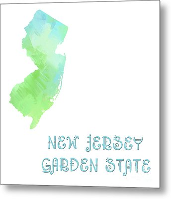 New Jersey - Garden State - Map - State Phrase - Geology Metal Print by Andee Design