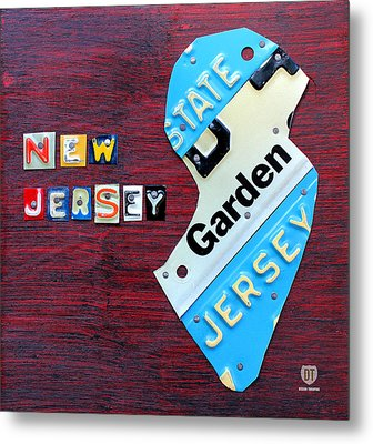 New Jersey License Plate Map Metal Print