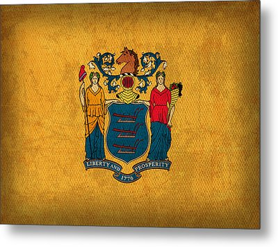 New Jersey State Flag Art On Worn Canvas Metal Print by Design Turnpike