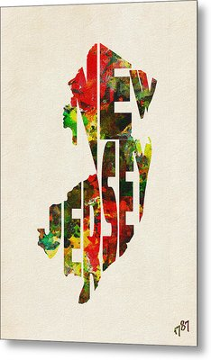 New Jersey Typographic Watercolor Map Metal Print by Ayse Deniz