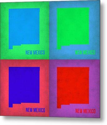 New Mexico Pop Art Map 1 Metal Print by Naxart Studio