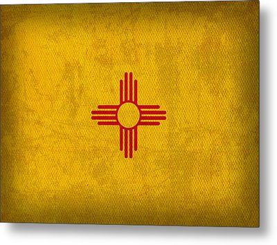 New Mexico State Flag Art On Worn Canvas Metal Print by Design Turnpike