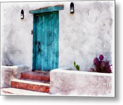 New Mexico Turquoise Door And Cactus  Metal Print by Barbara Chichester
