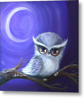 Metal Print featuring the painting New Moon Owl by Agata Lindquist