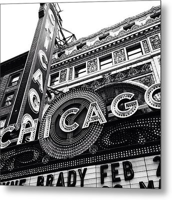 Chicago Theatre Sign Black And White Photo Metal Print by Paul Velgos