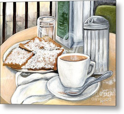 New Orleans Cafe Du Monde Metal Print by Elaine Hodges