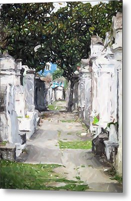 New Orleans French Quarter Cemetary Louisiana Artwork Metal Print by Olde Time  Mercantile