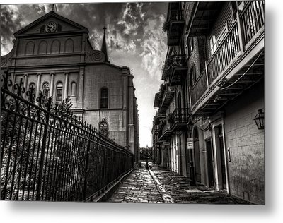 New Orleans' Pirates Alley In Black And White Metal Print by Greg and Chrystal Mimbs
