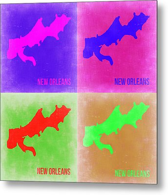 New Orleans Pop Art Map 2 Metal Print by Naxart Studio