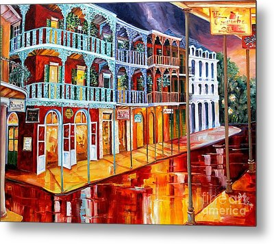 New Orleans Reflections In Red Metal Print by Diane Millsap