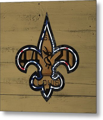 New Orleans Saints Football Team Retro Logo Louisiana License Plate Art Metal Print