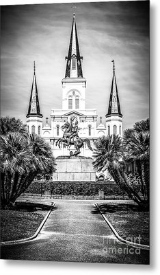 New Orleans St. Louis Cathedral Black And White Picture Metal Print by Paul Velgos