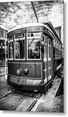 New Orleans Streetcar Black And White Picture Metal Print