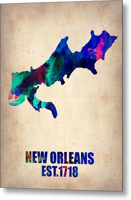New Orleans Watercolor Map Metal Print by Naxart Studio