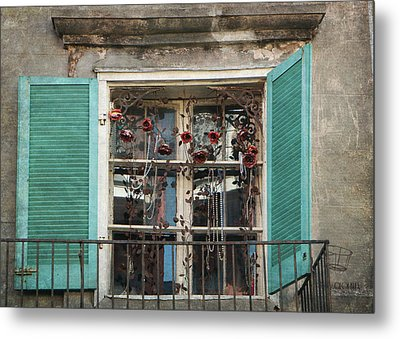 Metal Print featuring the photograph New Orleans Window by Lorella  Schoales