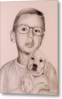 Metal Print featuring the drawing New Puppy by Sharon Schultz