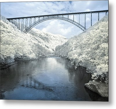 New River Gorge Bridge In Infrared Metal Print by Mary Almond