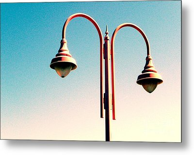 Beach Lamp Post Metal Print