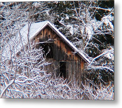 New Snow Old Barn Metal Print by Will Boutin Photos