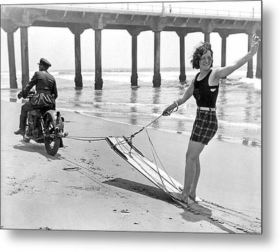 New Sport Of Motor Surfing Metal Print by Underwood Archives