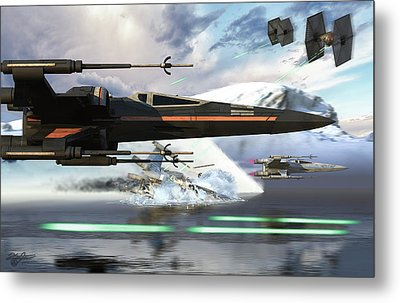 New X-wing Model Cruising Over A Lake Metal Print by Kurt Miller