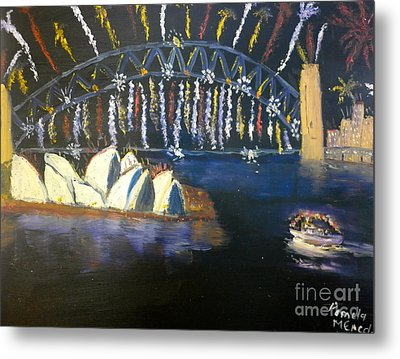 Metal Print featuring the painting New Year Eve On Sydney Harbour by Pamela  Meredith
