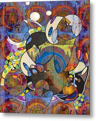 Metal Print featuring the digital art New Year's Eve Celebration by Gabrielle Schertz