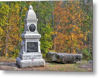 New York At Gettysburg - 149th Ny Infantry Autumn Mid-afternoon Culp's Hill Metal Print by Michael Mazaika
