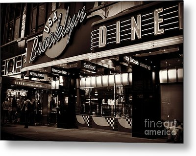 New York At Night - Brooklyn Diner - Sepia Metal Print by Miriam Danar