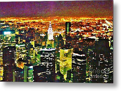 New York At Night From The Empire State Building Metal Print