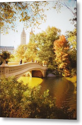 New York Autumn - Central Park - Bow Bridge Metal Print by Vivienne Gucwa