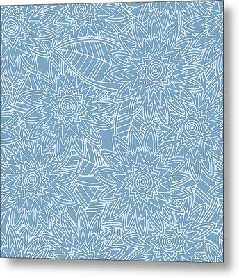 New York Blue Fleur Metal Print