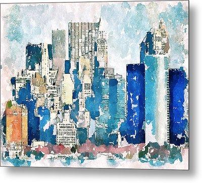 New York Blue Metal Print