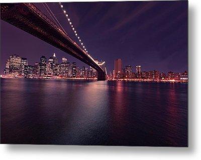 New York Brooklyn Bridge At Night Metal Print by David Dehner